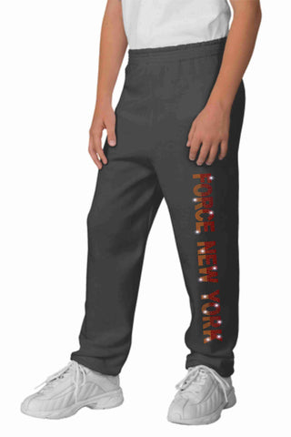 Force Soccer FC New York Youth sweatpants-Bling Sweatpants Beckys-Boutique.com Heather Gray Extra-Small