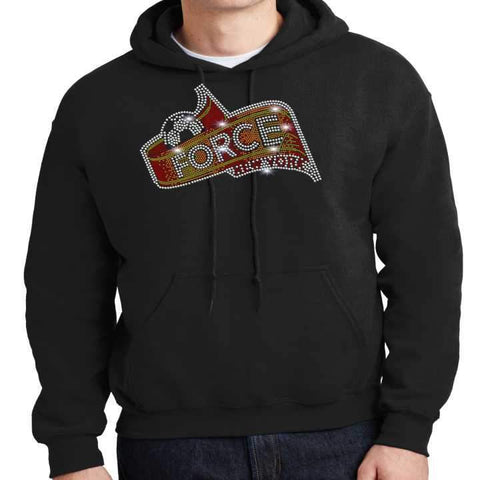 Image of Force Soccer NY - Spangle Bling Adult Bling Hoodie- Black, White, Gray or Orange Hoodie Beckys-Boutique.com Small Black