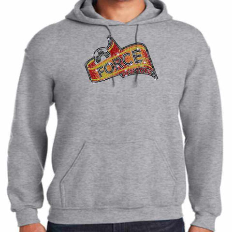 Force Soccer NY - Spangle Bling Adult Bling Hoodie- Black, White, Gray or Orange Hoodie Beckys-Boutique.com Small Gray