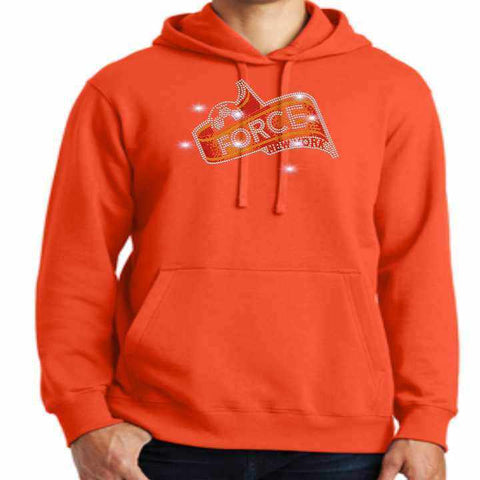 Force Soccer NY - Spangle Bling Adult Bling Hoodie- Black, White, Gray or Orange Hoodie Beckys-Boutique.com Small Orange