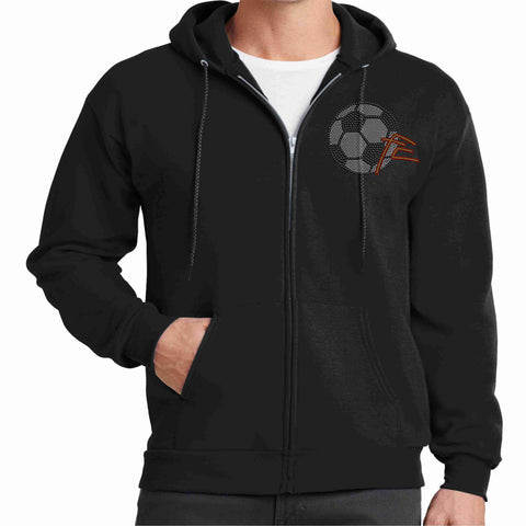 Force Soccer NY - Youth Spangle Bling Zip Up Hoodie Jacket Zip up jacket Beckys-Boutique.com Small Black