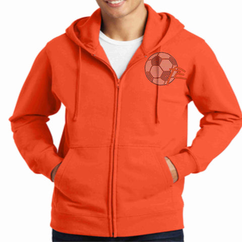 Image of Force Soccer NY - Youth Spangle Bling Zip Up Hoodie Jacket Zip up jacket Beckys-Boutique.com Small Orange