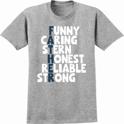 Funny, Caring, Stern, Honest, Reliable, Strong - Father's Day Short Sleeve Screen Printed Shirt Short Sleeve Crew Neck Mens Beckys-Boutique.com