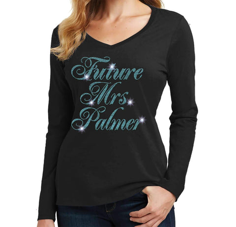 Future Mrs. Wedding Bachelorette Party - Ladies Long Sleeve V-Neck Ladies Long Sleeve V-neck Becky`s Boutique Extra Small