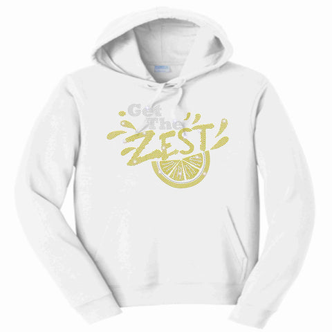Get the Zest Hooded Sweatshirt- Holographic Bling White or Teal Hoodie Sweatshirt Becky's Boutique S White