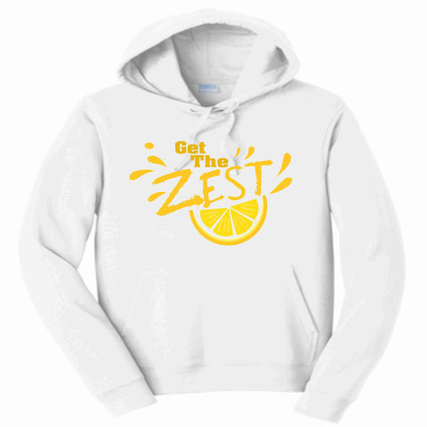 Get the Zest Hooded Sweatshirt- Matte Print White or Teal Hoodie Sweatshirt Becky's Boutique S White