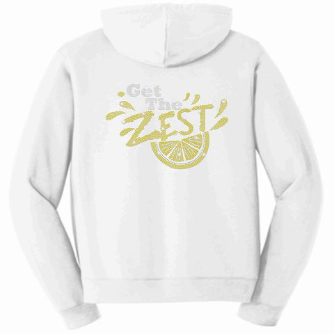 Get the Zest Hooded Zip Up Sweatshirt-Holographic Bling- White Zip Up Hoodie Becky's Boutique S White