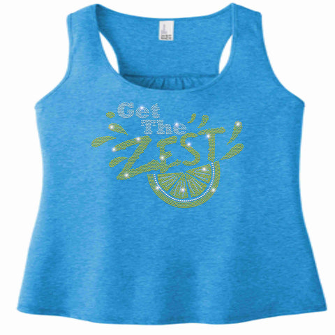 Get the Zest Ladies Racerback Tank-Holographic Bling- White or Teal ladies racerback tank Becky's Boutique XS Teal