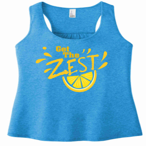 Image of Get the Zest Ladies Racerback Tank-Matte Print White or Teal ladies racerback tank Becky's Boutique XS Teal
