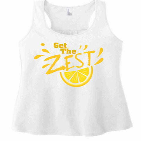 Image of Get the Zest Ladies Racerback Tank-Matte Print White or Teal ladies racerback tank Becky's Boutique XS White