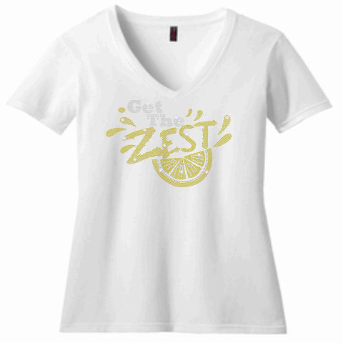 Get the Zest Ladies Short Sleeve V-neck-Holographic Bling -White or Teal Ladies Short Sleeve V-neck Becky's Boutique XS White