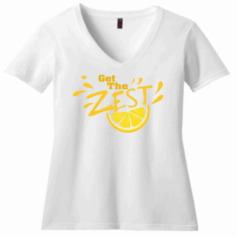 Image of Get the Zest Ladies Short Sleeve V-neck-Matte Print White or Teal Ladies Short Sleeve V-neck Becky's Boutique S White