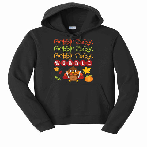 Gobble Baby, Wobble Cute Turkey Matte or Glitter shirt-ADULT Becky's Boutique XS Adult Hoodie Sweatshirt Matte