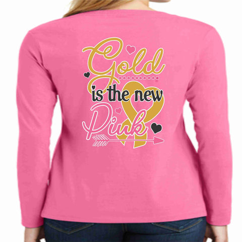 Image of Gold is the New Pink -Whipping Childhood Cancer Long Sleeve Screen Printed Shirt - Womens VIEW ALL DESIGNS Becky's Boutique Small
