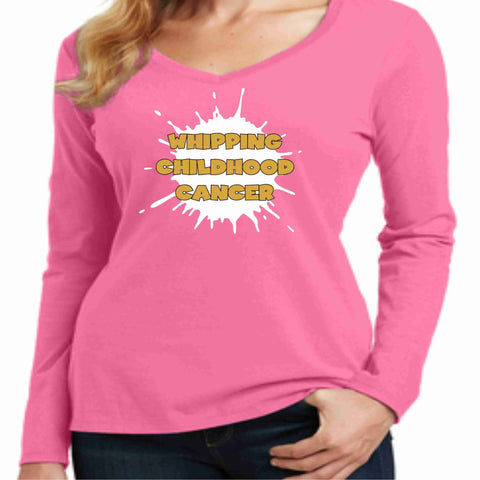 Image of Gold is the New Pink -Whipping Childhood Cancer Long Sleeve Screen Printed Shirt - Womens VIEW ALL DESIGNS Becky's Boutique