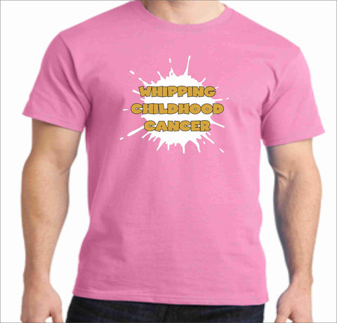 Gold is the New Pink -Whipping Childhood Cancer Short Sleeve Screen Printed T-Shirt VIEW ALL DESIGNS Becky's Boutique