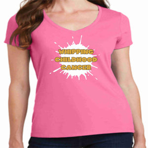 Gold is the New Pink -Whipping Childhood Cancer Short Sleeve Screen Printed T-Shirt Womens VIEW ALL DESIGNS Becky's Boutique