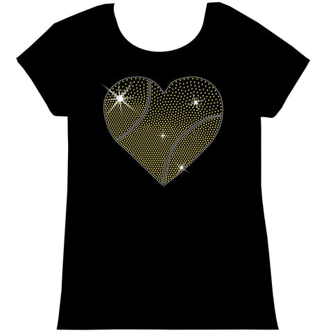 Gradient Heart Tennis ball Holographic Sparkle Spangle Bling shirt - Youth Short, Long Sleeve, Tank or Hoodie Sweatshirt-Youth LS, SS, tank and Hoodie-Becky's Boutique-X-Small-Girls Short Sleeve-Beckys-Boutique.com