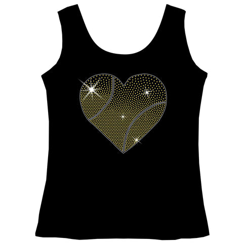 Gradient Heart Tennis ball Holographic Sparkle Spangle Bling shirt - Youth Short, Long Sleeve, Tank or Hoodie Sweatshirt-Youth LS, SS, tank and Hoodie-Becky's Boutique-X-Small-Girls Tank Top-Beckys-Boutique.com