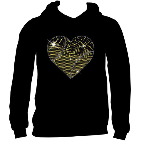 Gradient Heart Tennis ball Holographic Sparkle Spangle Bling shirt - Youth Short, Long Sleeve, Tank or Hoodie Sweatshirt-Youth LS, SS, tank and Hoodie-Becky's Boutique-X-Small-Youth Hoodie Sweatshirt-Beckys-Boutique.com
