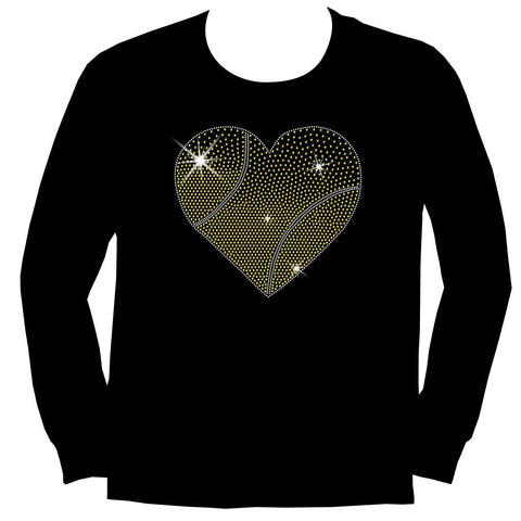 Gradient Heart Tennis ball Holographic Sparkle Spangle Bling shirt - Youth Short, Long Sleeve, Tank or Hoodie Sweatshirt-Youth LS, SS, tank and Hoodie-Becky's Boutique-X-Small-Youth Long Sleeve-Beckys-Boutique.com