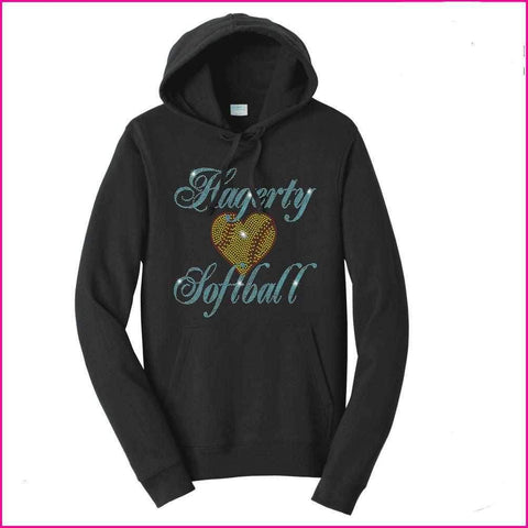 Hagerty Heart Softball Spangle Rhinestone Bling shirt - Hoodie Sweatshirt Hoodie Sweatshirt Becky`s Boutique Extra Small