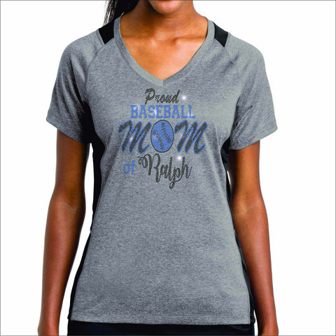 Hagerty High School Baseball Womens Gray Dri fit Color blocked Shirt Short Sleeve Bling VIEW ALL DESIGNS Becky's Boutique
