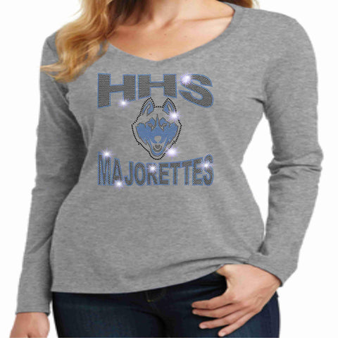 Image of Hagerty High School HHS Ladies Long Sleeve Majorettes Shirt - Available in Blue, Light Gray and Dark Gray-Ladies Long Sleeve V-neck-Becky's Boutique-Extra-Small-Light Gray-Beckys-Boutique.com