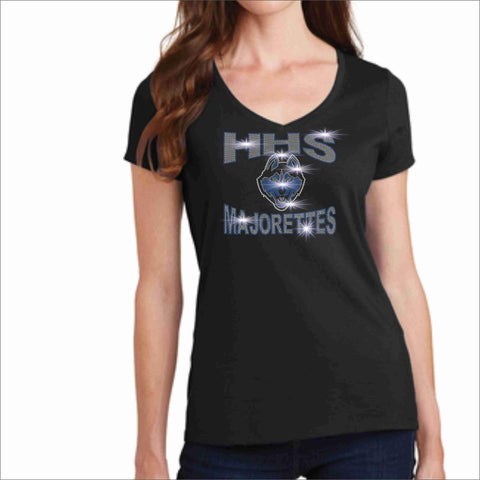 Hagerty High School HHS Ladies Short Sleeve Majorettes Shirt - Available in Blue, Black, Light Gray and Dark Gray-Ladies Short Sleeve V-neck-Becky's Boutique-Extra-Small-Black-Beckys-Boutique.com