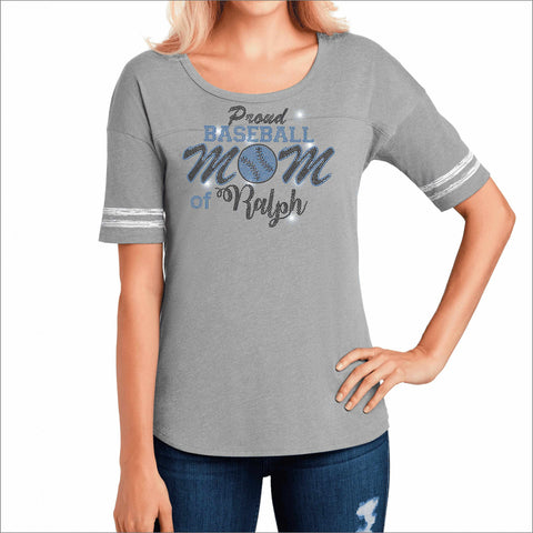 Hagerty High School Huskies Womens Baseball Gray Shirt with Stripes Bling VIEW ALL DESIGNS Becky's Boutique