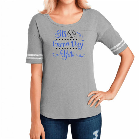 Hagerty High School Huskies Womens Baseball Gray Shirt with Stripes Bling VIEW ALL DESIGNS Becky's Boutique Womens Small Heather Gray Hagerty Baseball Threads