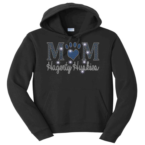 Hagerty Huskies Paw Mom Black - Hoodie Sweatshirt Hoodie Sweatshirt Becky`s Boutique Extra Small