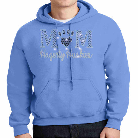 Hagerty Huskies Paw Mom Blue - Hoodie Sweatshirt Hoodie Sweatshirt Becky`s Boutique Extra Small