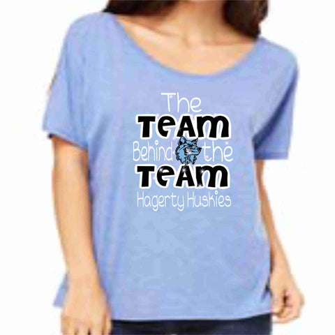 Official 2019 Competition Hagerty PW Ladies Cotton Flowy Relaxed Fit Wide Neck T-shirt ladies relaxed fit shirt Becky's Boutique S Glitter Vinyl Columbia Blue