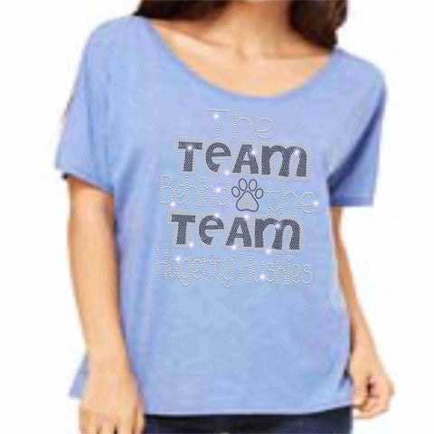 Official 2019 Competition Hagerty PW Ladies Cotton Flowy Relaxed Fit Wide Neck T-shirt ladies relaxed fit shirt Becky's Boutique S Spangle Bling Columbia Blue