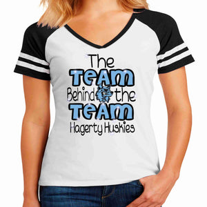 Official 2019 Competition Hagerty PW Ladies Cotton Varsity Style Short Sleeve Jersey T-shirt Ladies Jersey T-shirt Becky's Boutique XS Glitter Vinyl White