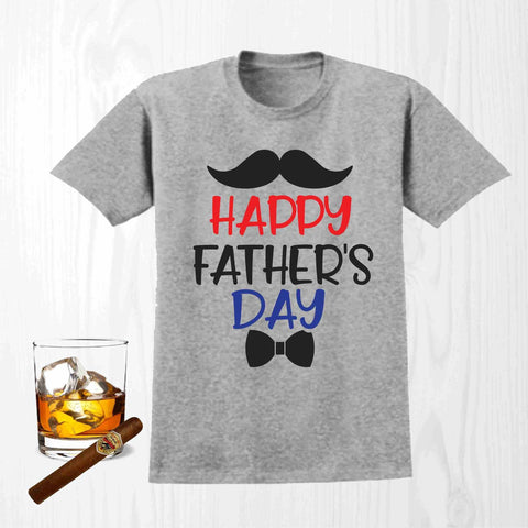 Happy Fathers Day - Short Sleeve Screen Printed Shirt Short Sleeve Crew Neck Mens Beckys-Boutique.com Small