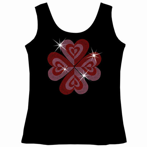 Image of Heart Flower, Valentines Day Youth Short Sleeve Crew Neck,Long Sleeve Crew Neck, Girls Tank Top, Youth Hooded Sweatshirt-Youth LS, SS, tank and Hoodie-Becky's Boutique-XS-Girls Tank Top-Beckys-Boutique.com