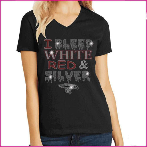I Bleed Red, White and Silver- East River High School Spangle Rhinestone Bling shirt Schools Becky's Boutique Extra Small Short Sleeve V-Neck
