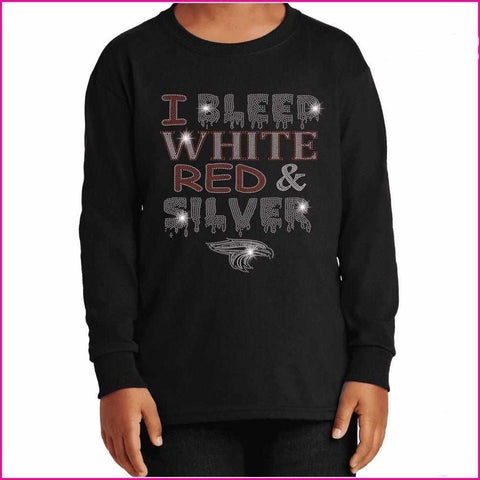 I Bleed Red, White and Silver- East River High School - Youth Long Sleeve Youth Long Sleeve Becky`s Boutique Extra Small