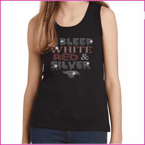 I Bleed Red, White and Silver- East River High School - Youth Tank Youth Tank Becky`s Boutique Extra Small
