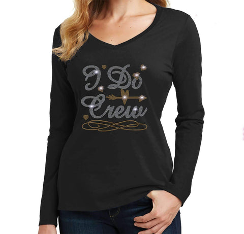I Do Crew with a Diamond Ring - Wedding, Bachelorette Party - Ladies Long Sleeve V-Neck Ladies Long Sleeve V-neck Becky`s Boutique Extra Small