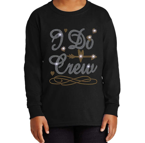 I Do Crew with a Diamond Ring - Wedding, Bachelorette Party - Youth Long Sleeve Youth Long Sleeve Becky`s Boutique Extra Small