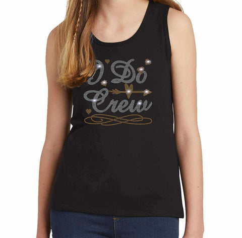 I Do Crew with a Diamond Ring - Wedding, Bachelorette Party - Youth Tank Youth Tank Becky`s Boutique Extra Small