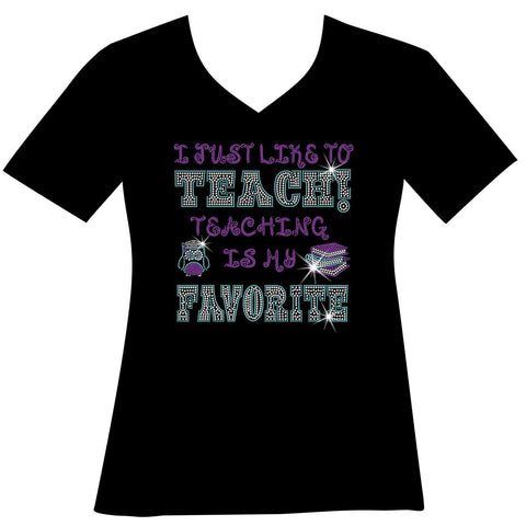 Image of I Just Like to Teach! Teaching is my Favorite! Ladies Holographic Spangle Bling Short Sleeve V-Neck, Long Sleeve V-Neck, Racerback Tank, Unisex Hooded Sweatshirt, Unisex Short Sleeve Crew Neck, Unisex Long Sleeve Crew Neck-LS Shirt, SS Shirt, Racerback tank and hoodie-Becky's Boutique-XS-Short Sleeve V-Neck-Beckys-Boutique.com