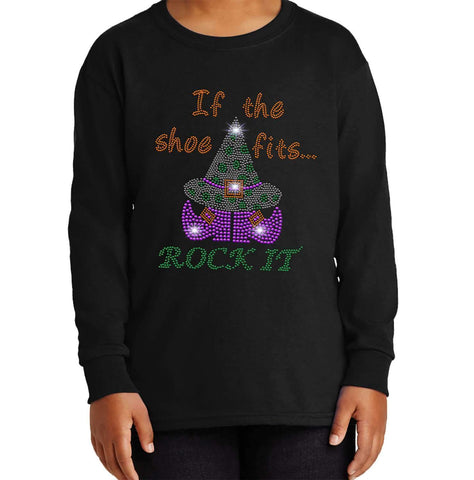 If the Shoe Fits, Rock it-Witch Hat and Shoes Halloween - Youth Long Sleeve Youth Long Sleeve Becky`s Boutique Extra Small