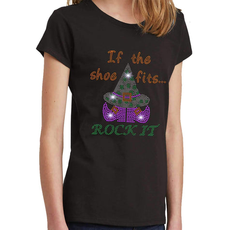If the Shoe Fits, Rock it-Witch Hat and Shoes Halloween - Youth Short Sleeve Youth Short Sleeve Becky`s Boutique Extra Small