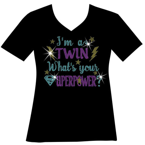 I'm A Twin, What Is Your Superpower? Ladies Holographic Spangle Bling Short Sleeve V-Neck, Long Sleeve V-Neck, Racerback Tank, Unisex Hooded Sweatshirt, Unisex Short Sleeve Crew Neck, Unisex Long Sleeve Crew Neck-LS Shirt, SS Shirt, Racerback tank and hoodie-Becky's Boutique-XS-Short Sleeve V-Neck-Beckys-Boutique.com