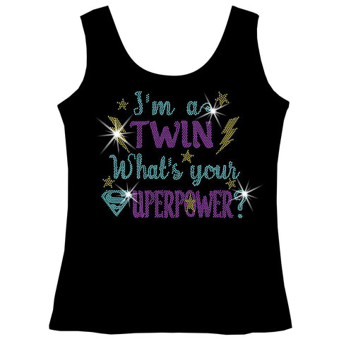I'm a Twin, What is Your Superpower? Youth Holographic Spangle Bling, Girls Short Sleeve Crew Neck, Long Sleeve Crew Neck, Girls Tank Top, Youth Hooded Sweatshirt-Youth LS, SS, tank and Hoodie-Becky's Boutique-XS-Girls Tank Top-Beckys-Boutique.com
