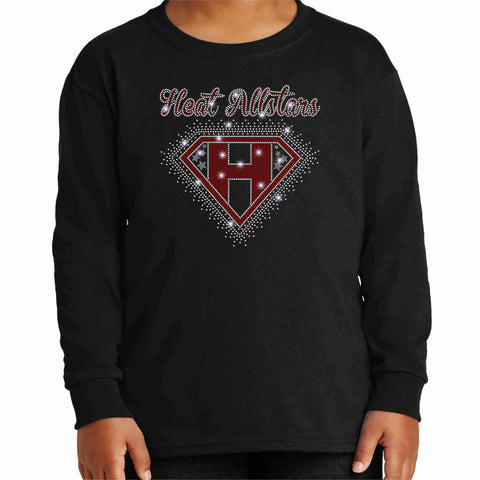 Inferno Heat Allstars Cheer Youth Long Sleeve Shirt Youth Long Sleeve Crew Neck Becky's Boutique